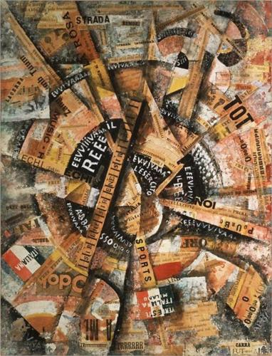 Futurist Carlo Carra interventionist-demonstration-patriotic-holiday-freeword-painting-1914