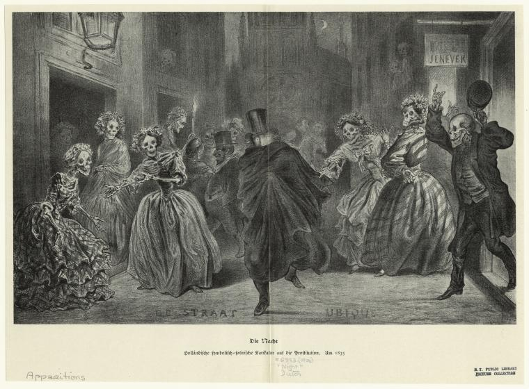 Black and white print of dancing skeletons